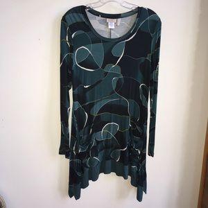 LOGO Lori Goldstein Teal Swirl Print Tunic Top S
